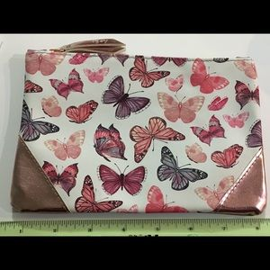 New Rose Gold Pink Purple Butterfly Makeup Bag